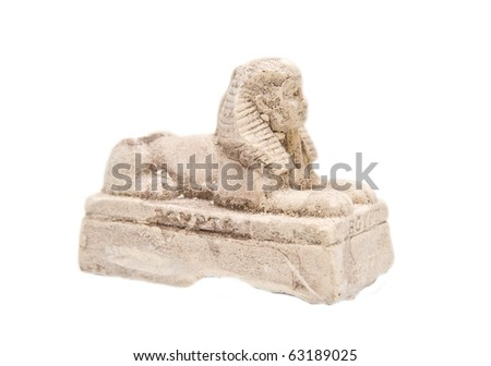 gypsum statue of a sphinx on a white background - stock photo