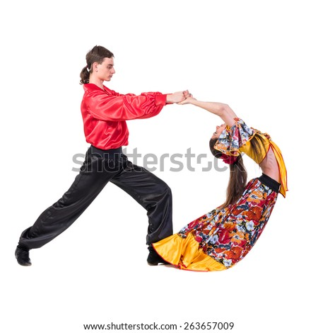Gypsy flamenco dancer couple, isolated on white in full length - stock photo