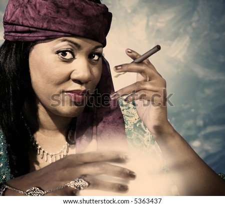 Gypsy fortune teller with a small cigar and a glowing crystal ball.
