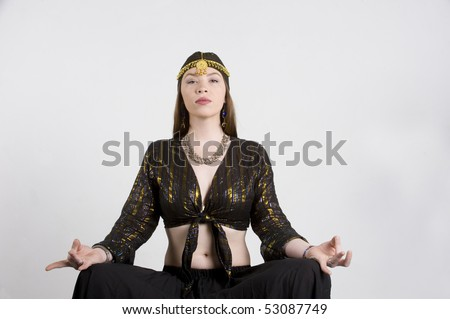 Gypsy in meditation with blank background