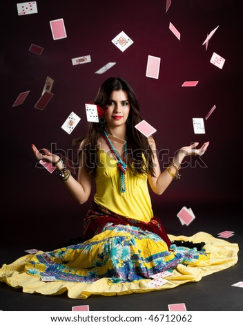 Gypsy woman with and cards magic - stock photo