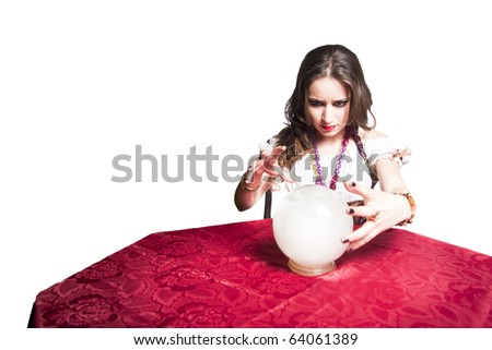 gypsy woman with crystal ball - stock photo