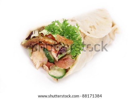 Gyros tortilla over white - stock photo