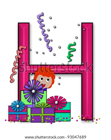 """H, in the alphabet set """"Birthday Letters"""", is surrounded by colorfully wrapped presents complete with bows.  Woman hides behind presents and peeks out pretending surprise. - stock photo"""