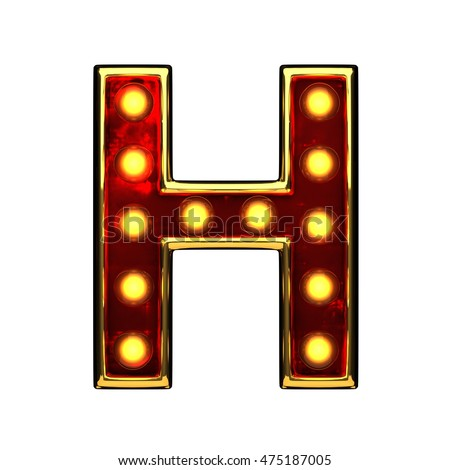 h isolated golden letter with lights on white. 3d illustration