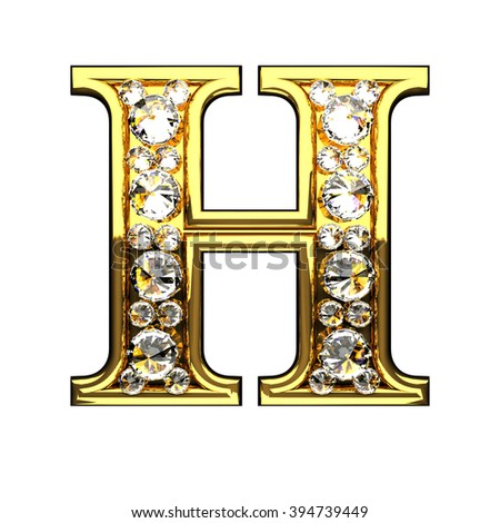 h isolated golden letters with diamonds on white