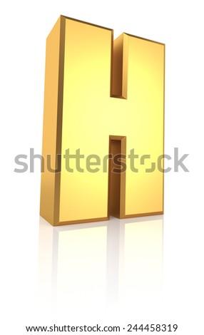 H letter. Gold metal letter on reflective floor. White background. 3d render - stock photo