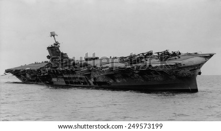 H.M.S. Ark Royal was hit by torpedoes from German submarine, U-81. She was ferrying supplies to Malta in the Mediterranean when attacked on November 13, 1941. - stock photo