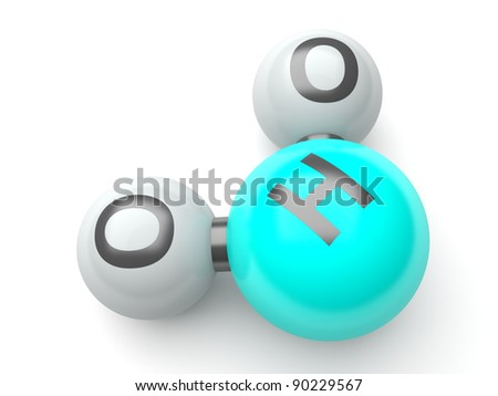 h20 molecules on the white background - stock photo
