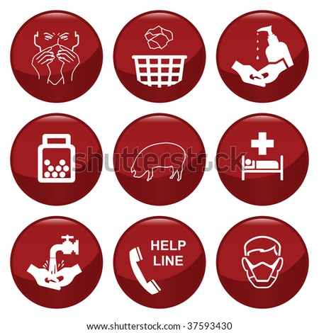 H1N1 swine flu icon collection individually layered - stock photo