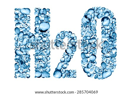 H2O inscription made from lot of blue water drops - stock photo