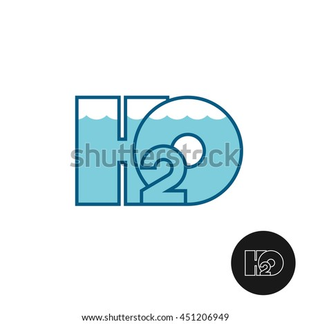 H2O letters water logo icon. Water line surface with waves. Aquarium theme apply. - stock photo