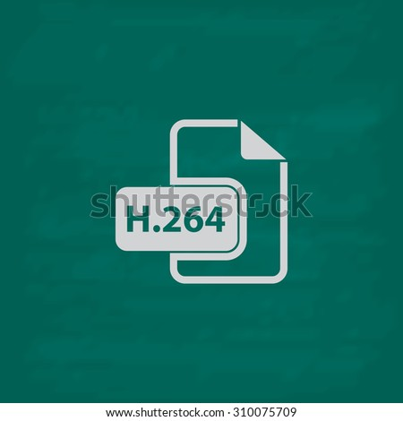 H264 video file extension.  Icon. Imitation draw with white chalk on green chalkboard. Flat Pictogram and School board background. Illustration symbol - stock photo