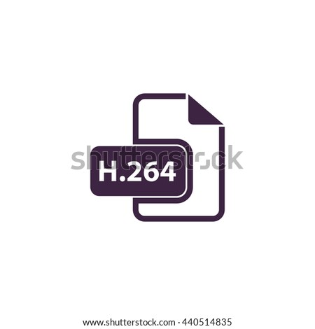 H264 video file extension. Simple blue icon on white background - stock photo