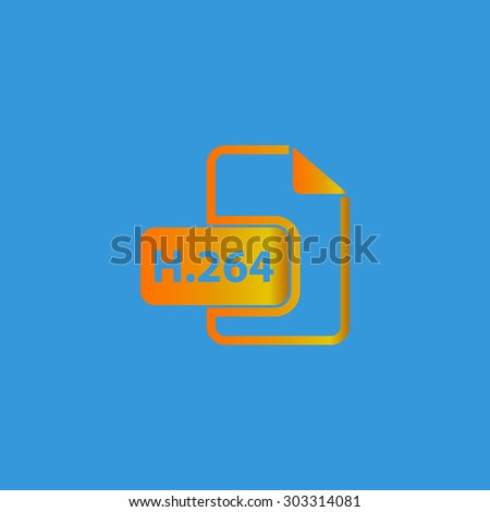H264 video file extension. Simple flat icon on blue background - stock photo