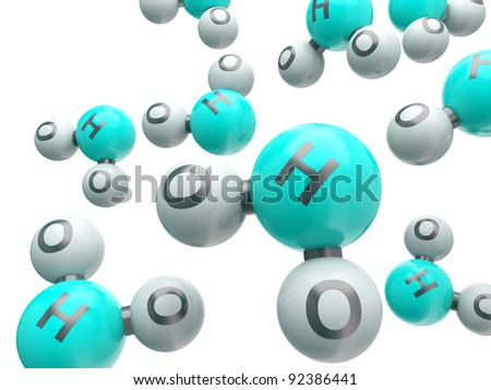 h20 water  isolated molecules on the white background - stock photo