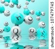 h20 water molecules on the gradient background - stock photo