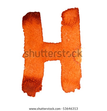 H - Watercolor letters isolated over the white background