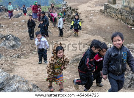 HA GIANG, VIET NAM, March 14, 2016 Hmong ethnic group of children, highland Ha Giang (name unknown), a walk outdoors