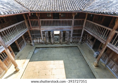 Ha Giang, Vietnam - March 18, 2016: Old building at Sa Phin Town in Ha giang province, Vietnam