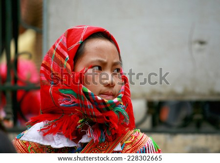 HA GIANG, VIETNAM - October 18, 2014: Portrait of an ethnic Hmong children in Ha Giang, Vietnam.