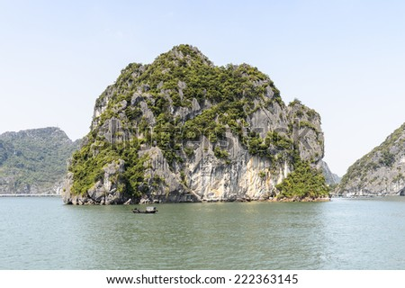 Ha Long bay rocks. UNESCO World Heritage site - stock photo