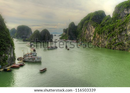 Ha Long Bay, Vietnam, Tourist junks in the bay - stock photo