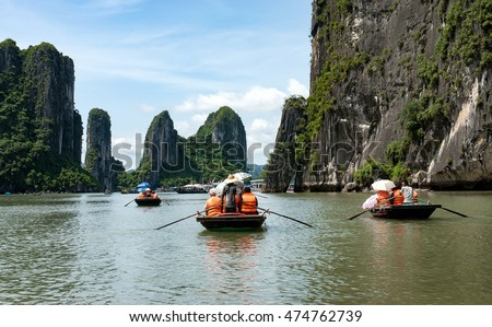 HA LONG, VIETNAM, June 24, 2016 sailing tourists visit Ha Long Bay, a world natural heritage, Quang Ninh province, Vietnam