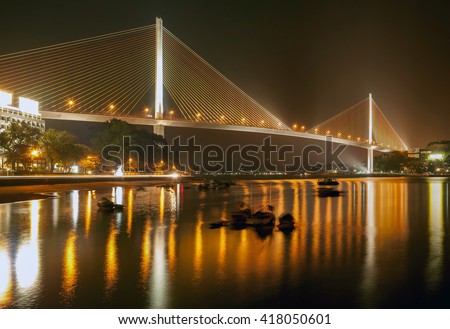 HA Long, Vietnam, November 28, 2015 cable-stayed bridge Ha Long, Quang Ninh province, Vietnam, at night