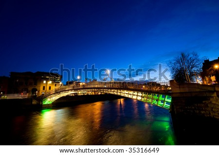 Ha Penny bridge, Dublin - stock photo