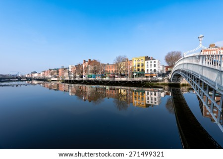 Ha'penny bridge in Dublin - stock photo