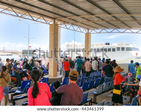 Ha Tien Town, Kien Giang province, VietNam - May 03, 2016 : ThachThoi large ferries: passengers are queuing to get on the ferry to travel to Phu Quoc Island. The ferry transports thousands passengers