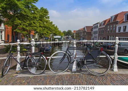 Haarlem, Netherlands, on July 11, 2014. The bicycles parked on the bank of the channel