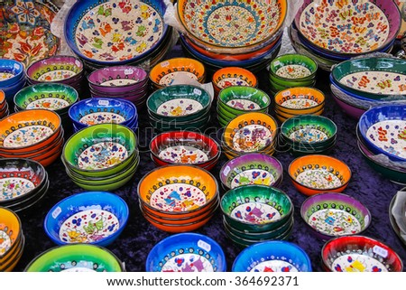 Haarlem, the Netherlands - June 20, 2015: Sale of colourful pottery at the street shop on the Grote Markt. Haarlem is the popular holland tourist place - stock photo