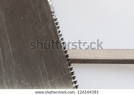 Habit 7 Sharpen the Saw being sharpened, - stock photo