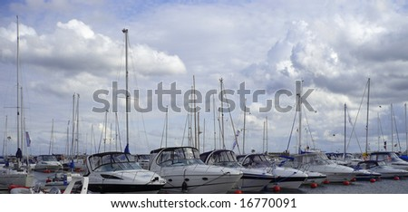 habour view with blue sky - stock photo