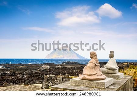 Hachijojima, Izu Islands, Tokyo, Japan. Coastal view of Little Hachijo Island (Hachijokojima). - stock photo