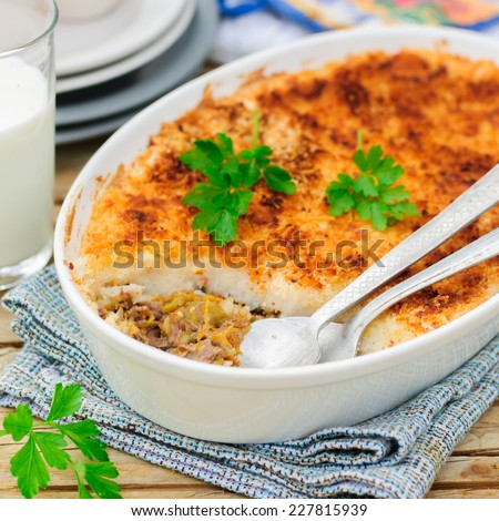 Hachis Parmentier, French Version of Shepherd's or Cottage Pie, Precooked Beef and Vegetables Covered with Potato Mash, square - stock photo