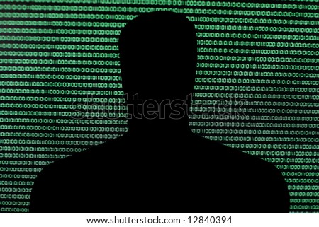 Hack in front of Binary Code - stock photo