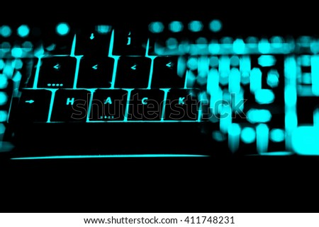 Hack text on the illuminated buttons of the keyboard by night. Internet safety concept - stock photo