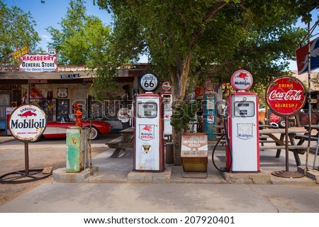 HACKBERRY, AZ - MAY 8, 2014: Entrance to landmark Hackberry General Store on Route 66 in Arizona. This roadside service as a museum for historic Route 66 memorabilia. - stock photo