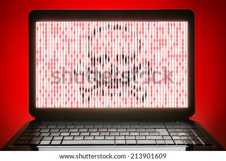 hacked black laptop blank screen and no sign keyboard - stock photo