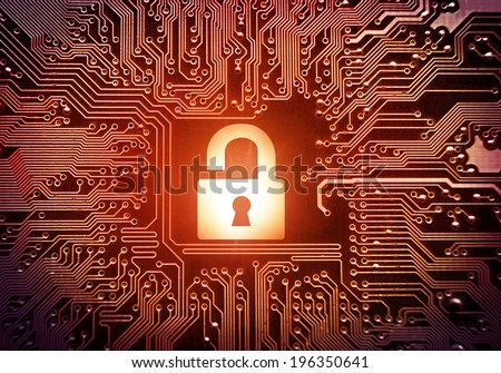 Hacked symbol on computer circuit board with open red padlock - stock photo
