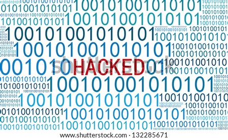 hacked with binary code - stock photo