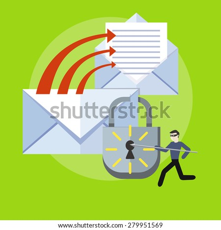 Hacker activity viruses hacking and e-mail spam. Computer crime in flat design. Criminal using computer to commit crime. Marketing and promotional materials, presentation templates. Raster version  - stock photo