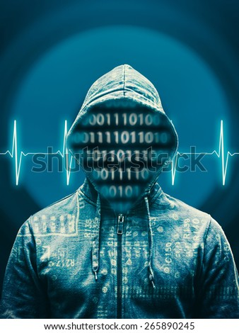 Hacker against abstract background with heart rate and audio speaker - stock photo