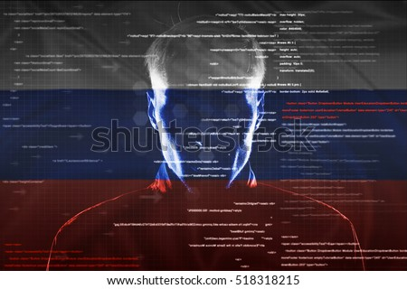 hacker at work with graphic user interface around with russian flag on background