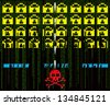 hacker attack  8-bit style - stock photo