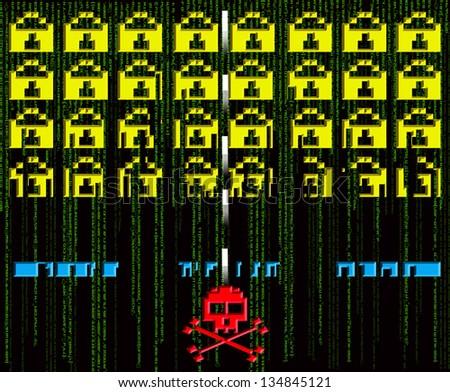 hacker attack  8-bit style - stock photo