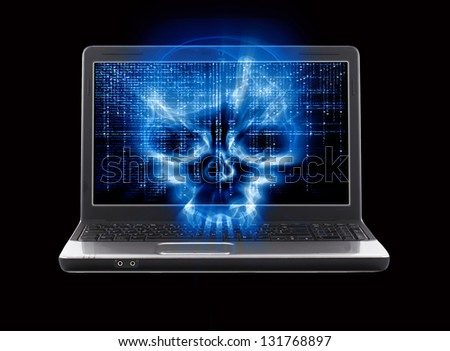 hacker attack concept isolated on black